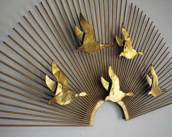 Metal Sunburst Wall Sculpture with Geese in Flight / C. Jere style