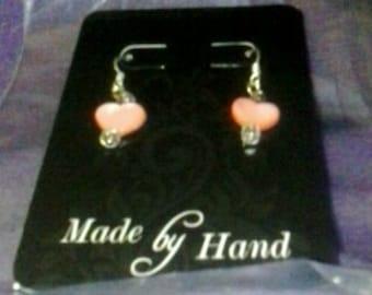 Small pink heart earrings