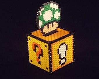 Perler Bead Coin Box (fused piggy bank) w/ green mushroom topper