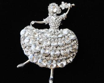 Bridal Brooch, Dance Girl Crystal Rhinestone Brooch Pin, Ballerina Brooch, Wedding Jewelry, Bridal Accessory, Wedding Brooch