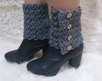 Button boot cuffs, crochet boot cuffs, adjustable, boot cuffs, lace boot cuffs, wool boot cuffs, girlfriend gift, boot cover, 52 colors