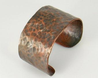 Hammered Copper Cuff Bracelet, Copper Bracelet, Wide Cuff Bracelet, Bronze Copper Cuff, Copper Bangle, Copper Jewelry, Copper Anniversary
