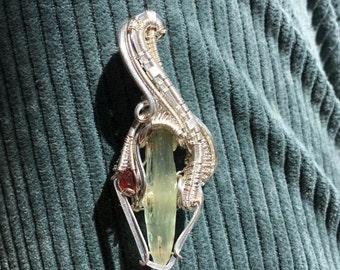 Wire wrapped pendant - Aquamarine and garnet