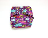 OS Pocket diaper, Feather Pattern, PUL Cloth Diaper Cover, Snap Closure Diaper, 10 to 30 pounds, Feather diaper cover, Purple Diaper Pattern