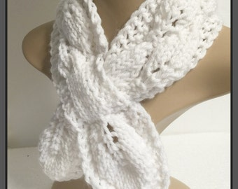 Hand knit  keyhole scarf-Neck Scarf-teens -Winter Accessories- Womens Accessories-ready to ship