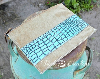 Turquoise Gator and Cowhide Large Clutch or Cosmetic Bag