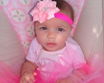 sparkly flower headband, newborn, infant, toddler, photo prop, glitter, elastic, lace headband, HOT pink, silver, pink poinsetta