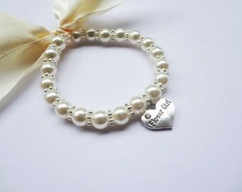 Girls Pearl charm bracelet, Flower Girl Bracelet, Flower Girl Jewelry, Custom made Flower Girl Gift