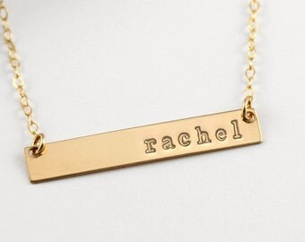Gold Bar Necklace, Personalized Gold Bar Necklace, Personalized Necklace, Personalized Bar, Bar Necklace, Nameplate Necklace, Christmas Gift