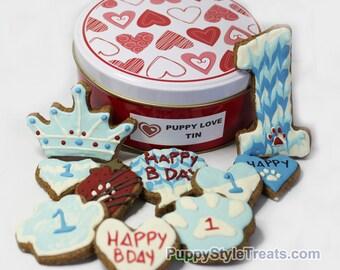 PUPPY BIRTHDAY TIN - Grain-free non-Gmo and Organic Dog Biscuits