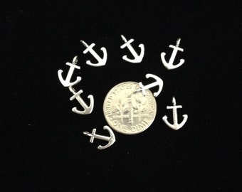 24 pieces Small anchor charms, tiny double sided anchor charm 12x9mm take silver finish perfect for nautical baby shower 28-29-AS