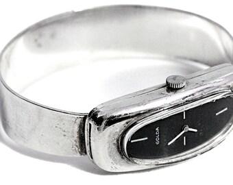 Antique Mechanical Golda Watch Bangle Silver