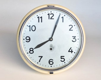 Vintage Industrial  Wall Clock / Mechanical Clock / Key Wind  / School Clock / Iskra Yugoslavia