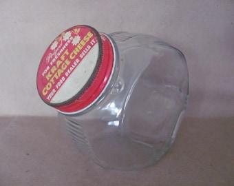 Vintage Glass Jar, 1950's Kraft Cottage Cheese Jar, Kitchen Storage Jar, Glass Canister, 1950's, Rustic, Mid Century Decor