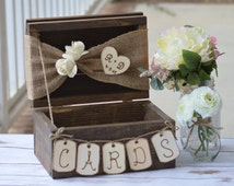 personalized rustic card box, burlap wedding reception card box