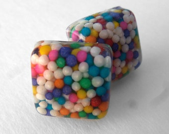 Square Colorful Sprinkle Stud Post Earrings with Real Nonpareil Sprinkles