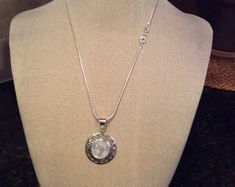 Blue Fire Moonstone Gemstone Pendant Necklace in Sterling Silver Design