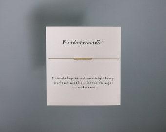 Friendship Bracelet - Bridesmaid - Gold Friendship Bracelet on Silk - Walnut