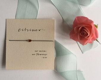 Citrine - Friendship Bracelet on silk with 14k gold filled beads - Black