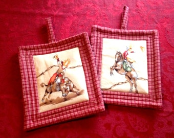 Pot Holders Cowgirl with Horse and Bull