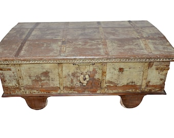 Vintage Coffee Table Reclaimed Hope Trunk Distressed Antique Chest FARMHOUSE Rustic Chic FREE SHIP