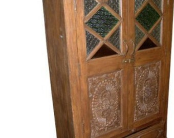 Antique Armoire Rustic Stained Glass Storage Cabinet Spanish Moroccan Mediterranean Boho Shabby Chic Interiors
