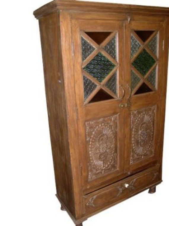 Antique Armoire Rustic Stained Glass Storage Cabinet Spanish
