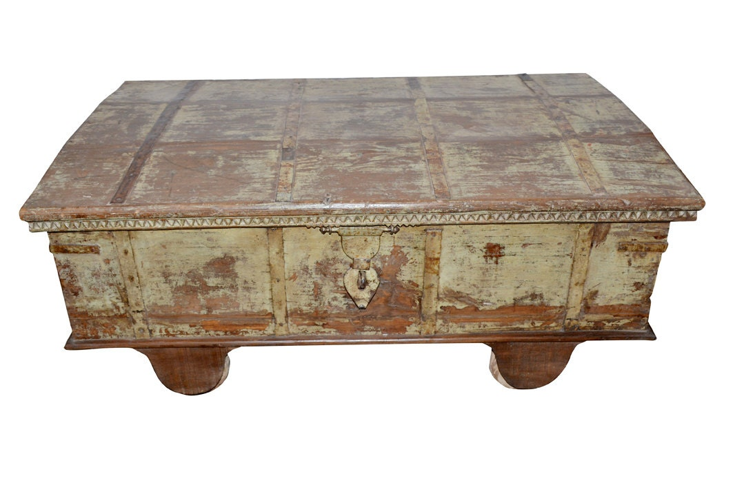 Vintage Coffee Table Reclaimed Hope Trunk Distressed Antique