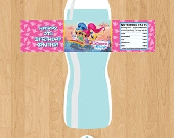 Shimmer and Shine Birthday Personalized Water Bottle Labels - Digital File