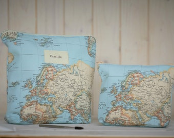 World map make up bag - personalised cosmetic bag - travel accessories - world map purse