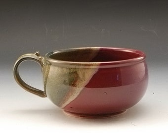 Handmade  Pottery Stoneware Soup  Bowl Plum Red Brown