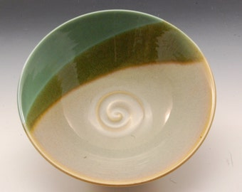 Handmade  Pottery Stoneware Bowl Green and Tan by Mark Hudak