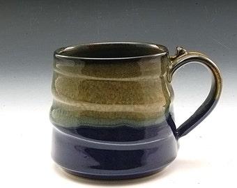 Large Pottery Mug  Blue Brown Handmade Stoneware by Mark Hudak