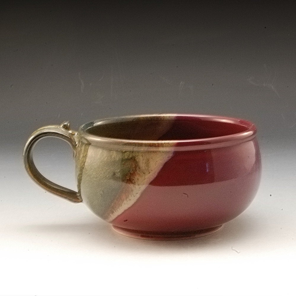 Handmade pottery stoneware soup bowl plum red brown for Handmade dinnerware