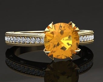Yellow Sapphire Engagement Ring Yellow Sapphire Ring 14k or 18k Yellow Gold Matching Wedding Band Available W21YSY
