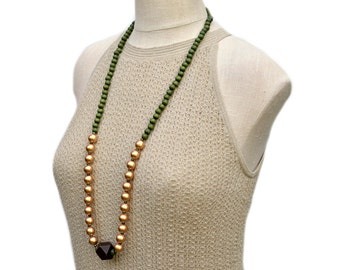 army green necklace / olive green beaded necklace / long necklace / beaded necklace / forest green / hunter green / wood bead necklace