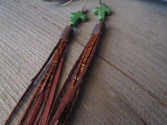Leather Tassel Earrings, Leather Tassel Earrings, Cross Earrings