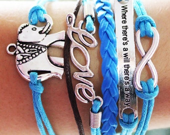 Elephant Friendship Charm Bracelet Blue Leather Bracelet Wrap Personalized Gift for her