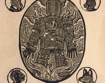 The Wicker Man Block Print
