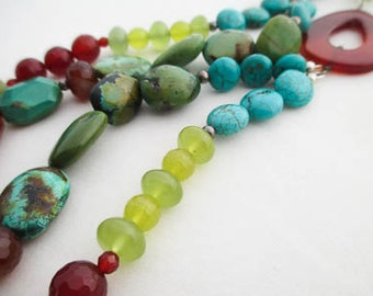 SALE - Turquoise, Carnelian and Serpentine Necklace
