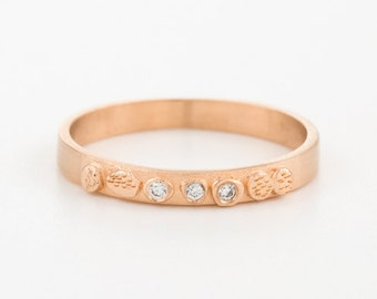 Diamond engagement ring, 18k rose gold ring, thin wedding band, stack ring, dainty wedding ring, engraved engagement ring, minimalistic ring