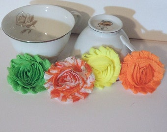 Shabby chic fabric bright colored flowers - 2 1/2 inch - Set of 4
