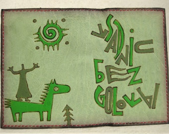 358 Inger Art Leather Passport Cover Ethnic Burning Man Cat Boho Patchwork