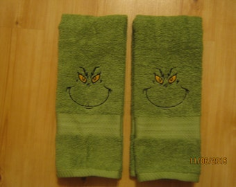 Grinch Towels, Set of 2 Hand Towels
