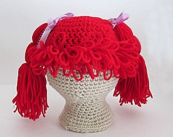 Cabbage Patch Wig Hat, Fun Character Hat, Crochet photo prop,