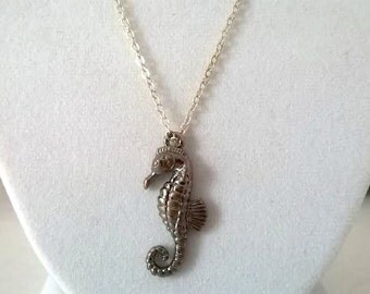 Bronze Seahorse Necklace - Silver tone Chain - Homemade Jewelry - Handmade Jewelry - Gifts for Her