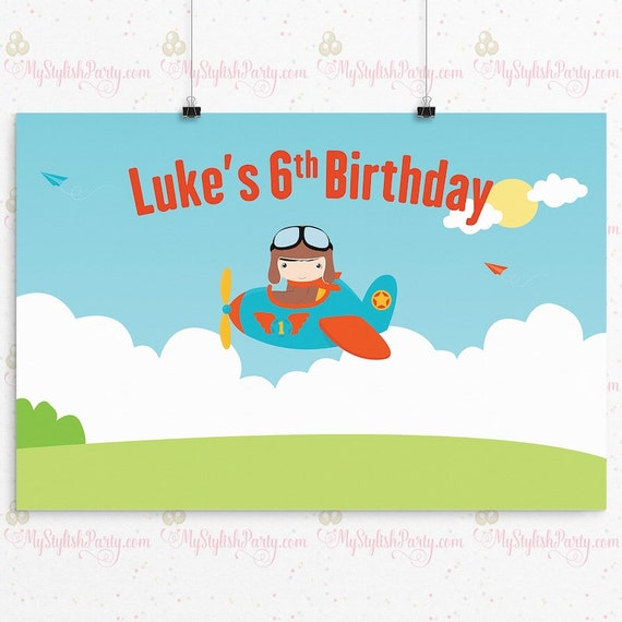 Airplane Birthday Backdrop or Poster - Black Hair Pilot Birthday Party ...