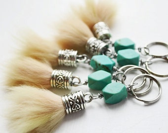 Tiny keychain // Cute keychain // Turquoise and Fur Ball