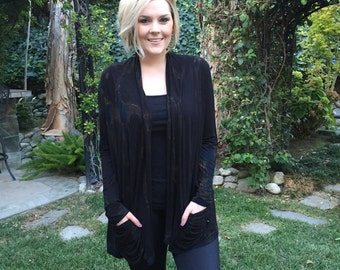 Plus Size Cardigan, Pocket Cardigan, Tie Dye, Cardigans, Tie Dye Cardigan, Plus Size Clothing, Black Marble, S/M L/XL, Plus