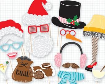 Holiday Photo Booth Props, Christmas Photobooth Props, Christmas, Foto Booth, Photobooth, Santa, Mrs Claus, Christmas Party, Leg Lamp, XMas
